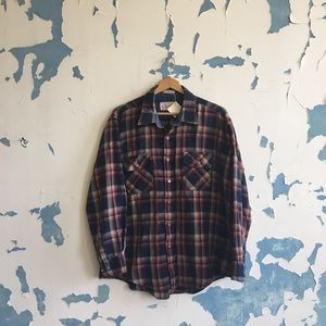 Vintage | Men's Flannel Blue Red Plaid Button Down